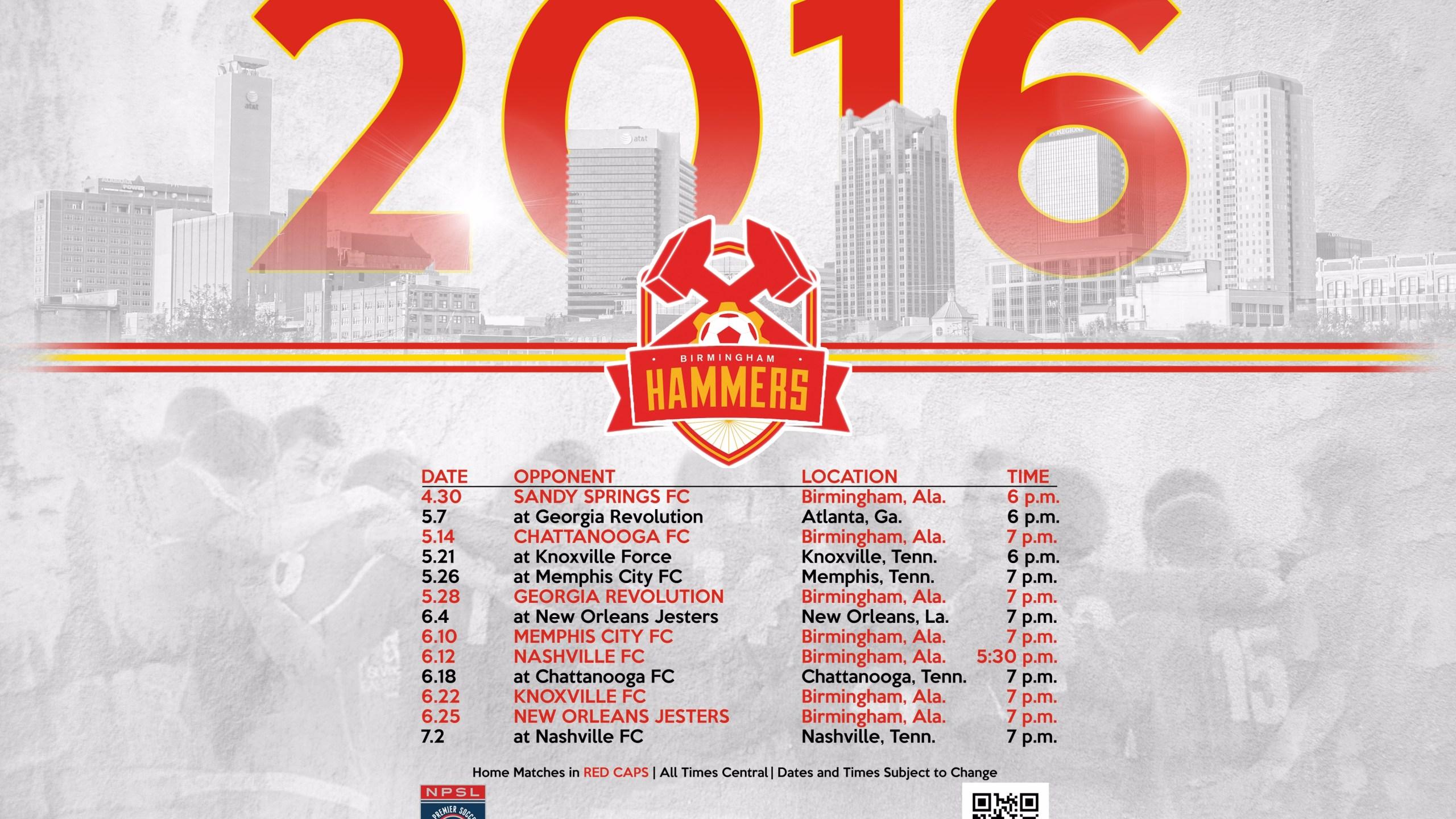 Bham Hammers 2016 Schedule_151193