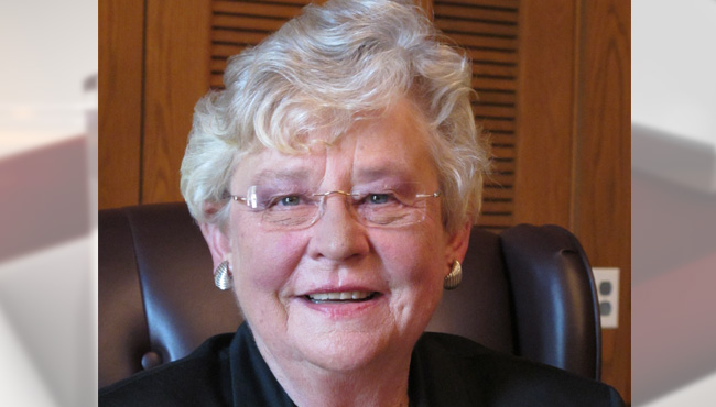 In this Wednesday, Oct. 8, 2014, file photo, Republican Lt. Gov. Kay Ivey poses for a portrait on 2014, in Montgomery, Ala. Ivey is seeking a second term Nov. 4 against former Democratic state Rep. James Fields. (AP Photo/Phillip Rawls, File)