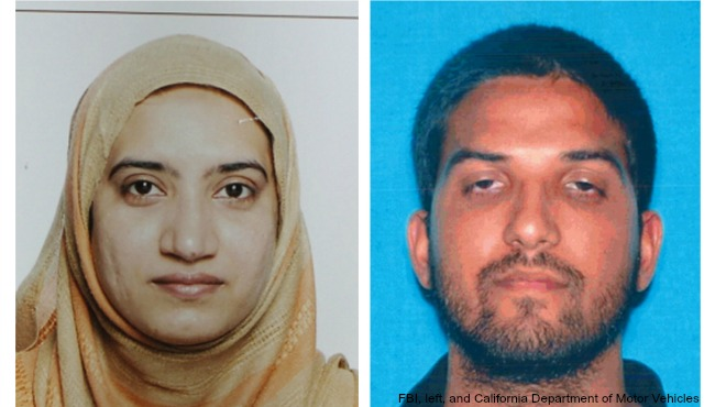 This undated combination of photos provided by the FBI, left, and the California Department of Motor Vehicles shows Tashfeen Malik, left, and S_172460
