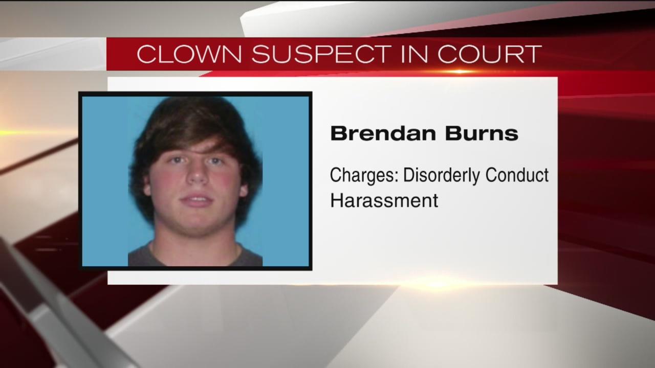 Clown suspect in court