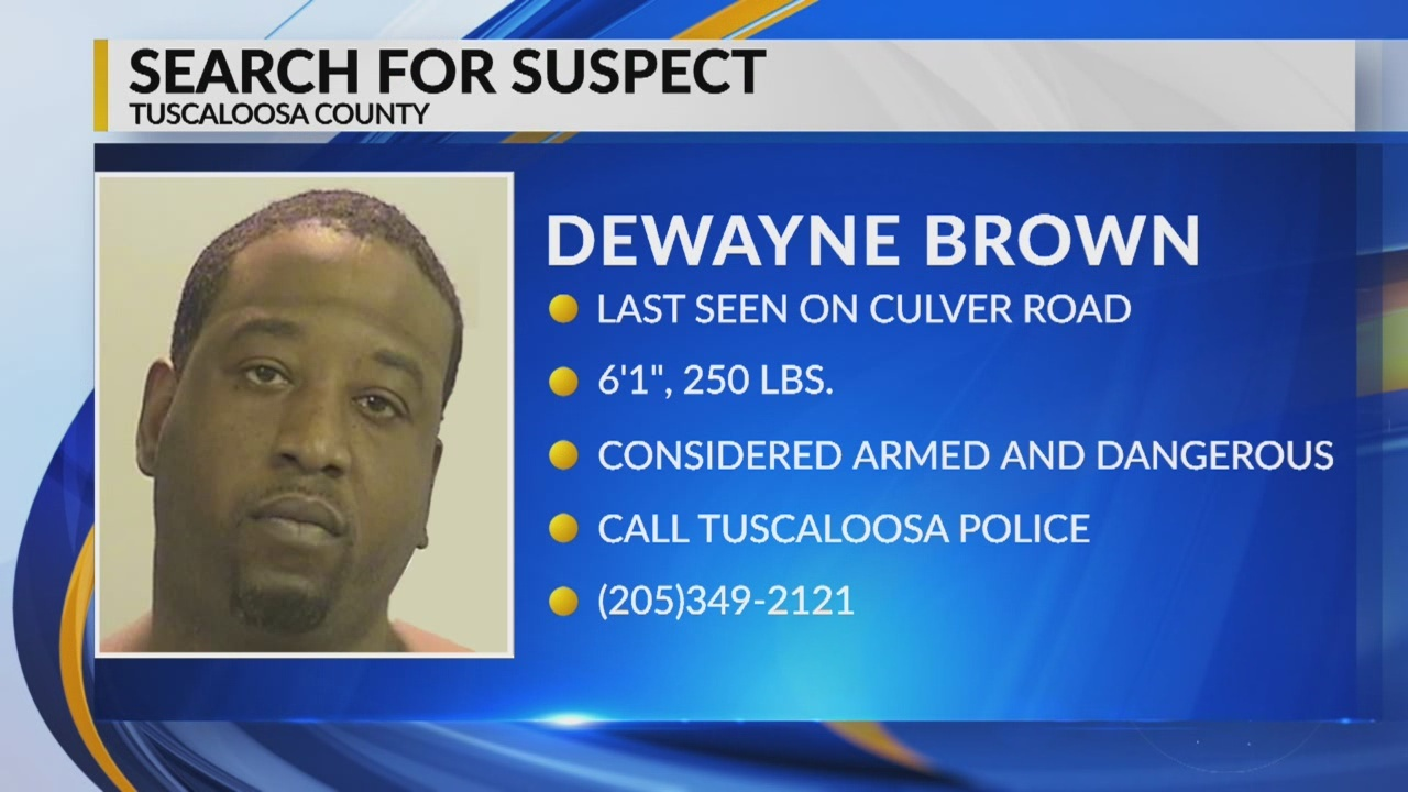 Search for suspect in Tuscaloosa