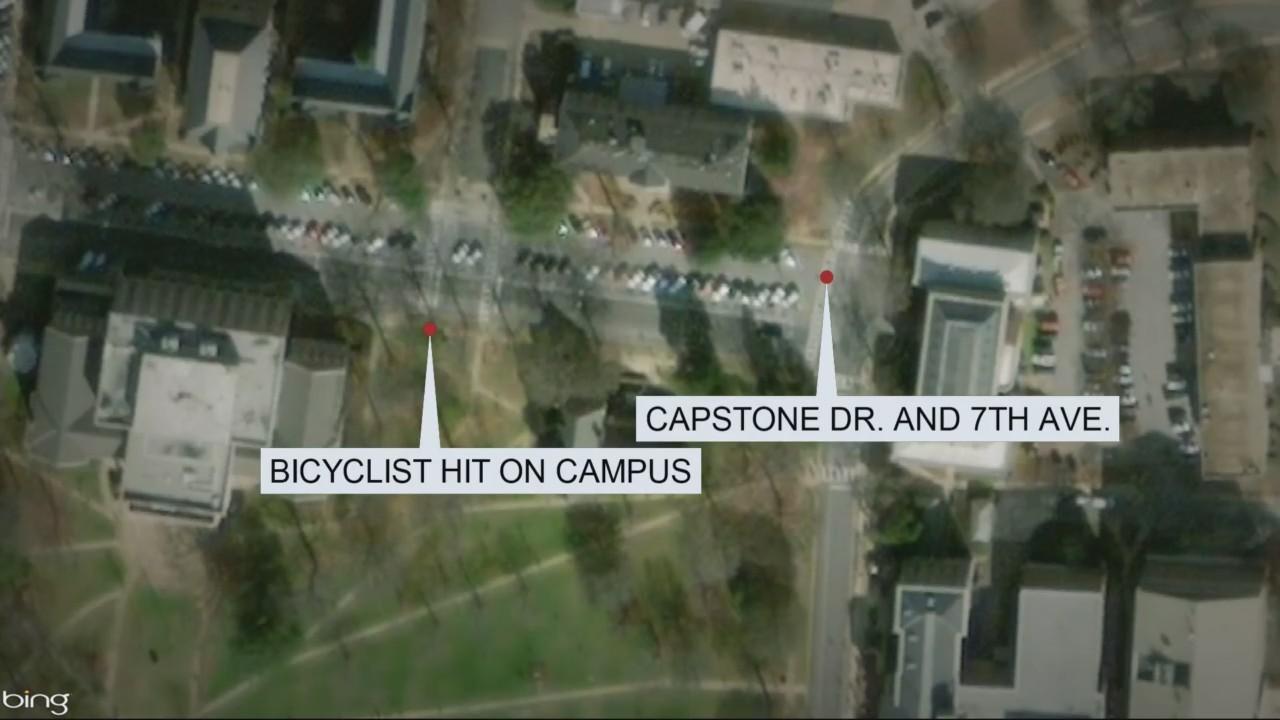 Golf cart hits bicyclist on UA campus