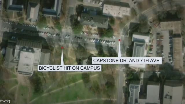 University of Alabama student riding bicycle hit by employee