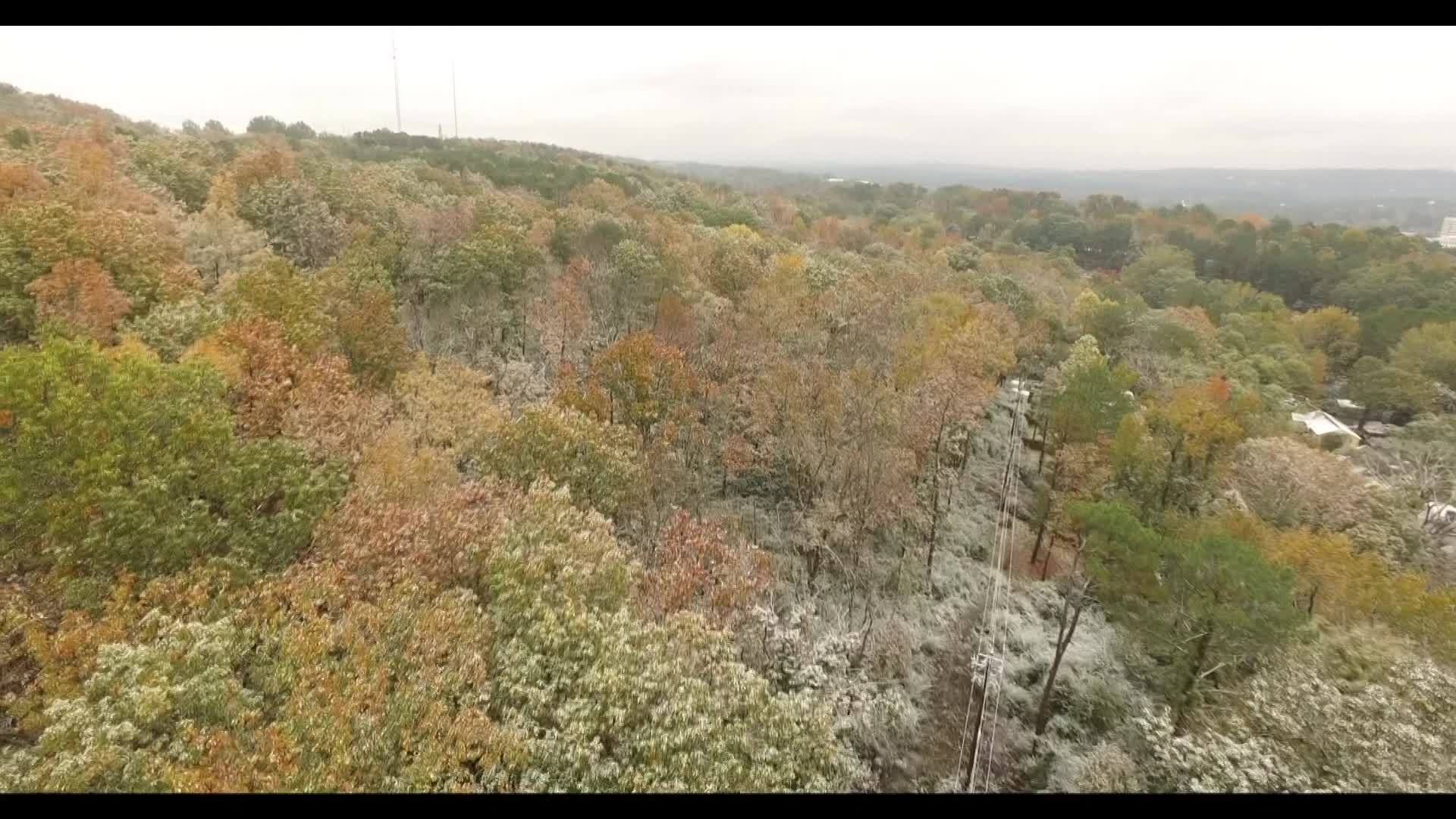 DRONE VIDEO: Light snow dusts Birmingham Thursday, Nov. 15