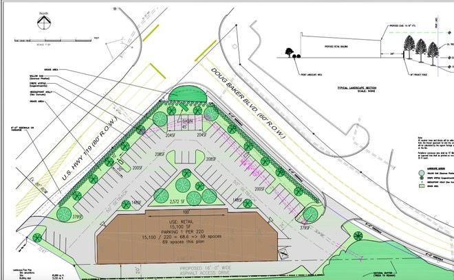 Concept Drawing for New Hoover Shopping Center