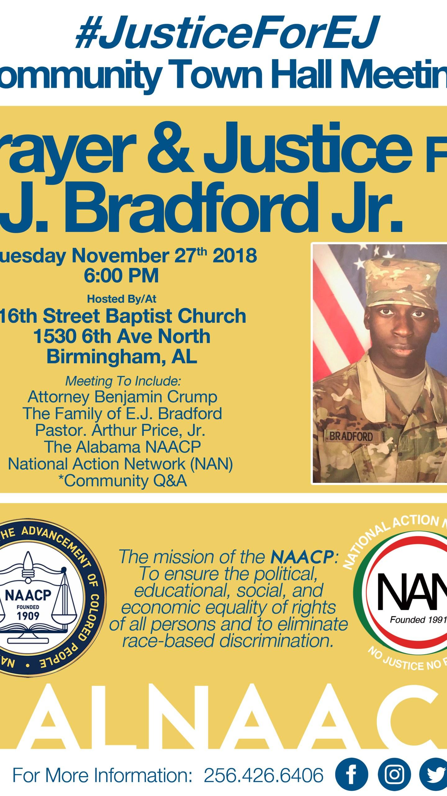 Prayer & Justice for EJ. Bradford Jr. Flier
