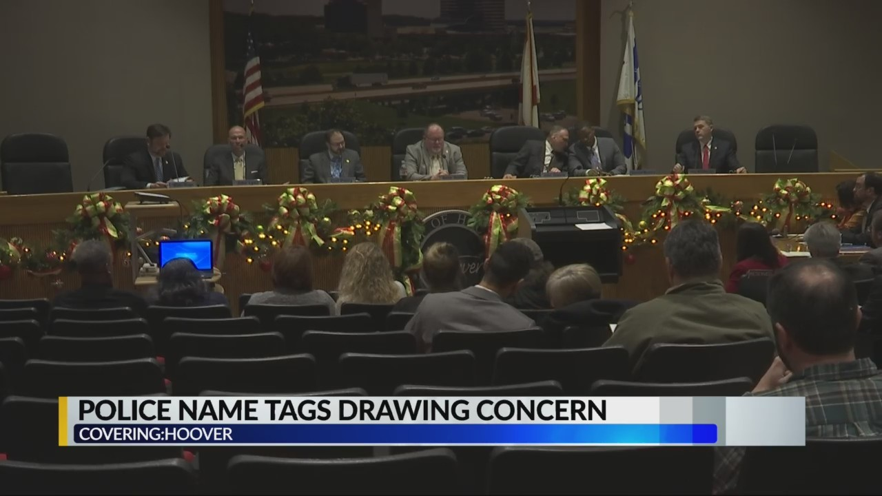 Police name tags draws concern at Hoover meeting