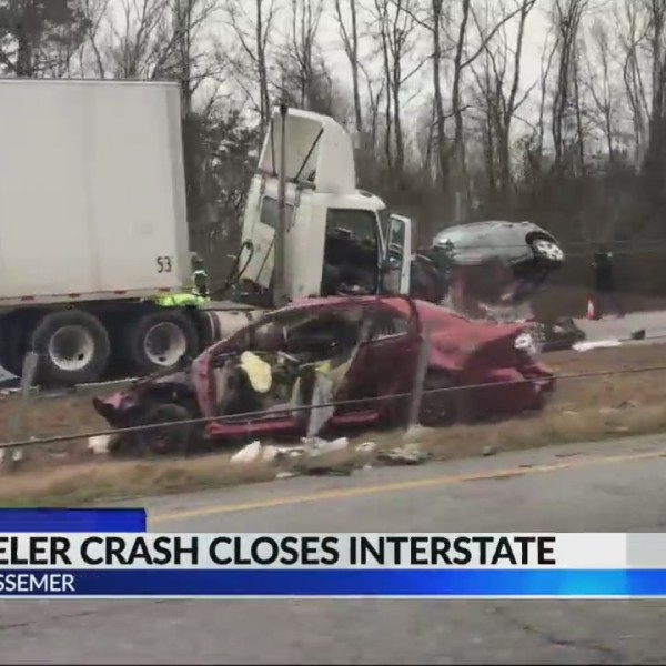 18-wheeler crash closes interstate in Bessemer