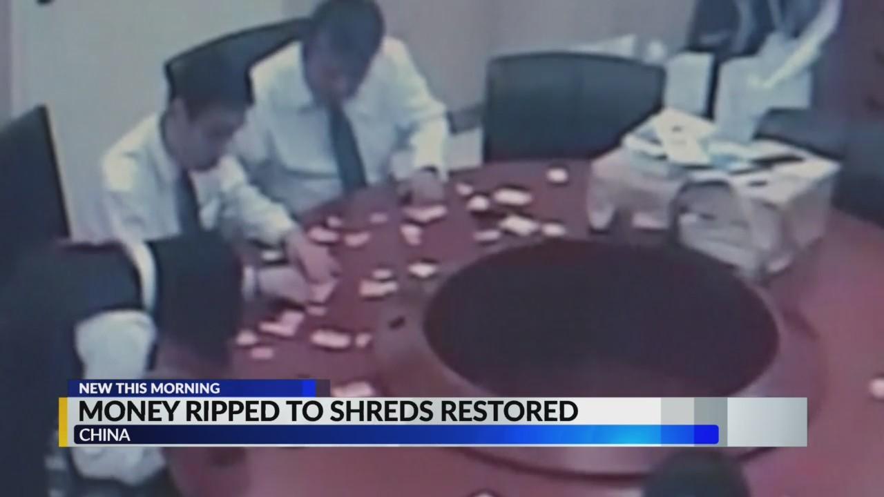 Child shreds money, nice bank tapes it back together