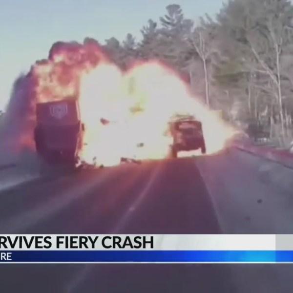 Teen Survives Fiery Crash (corrected)