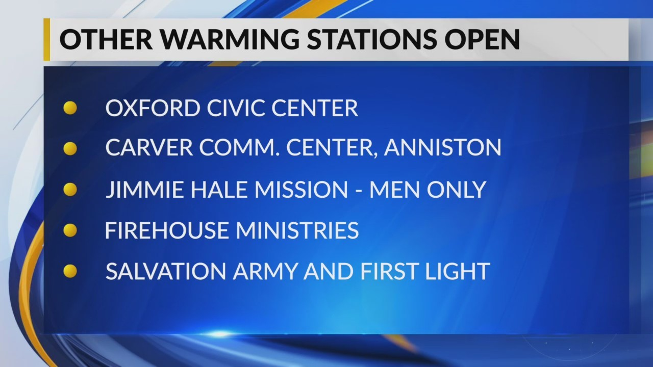 Warming stations open across Central Alabama