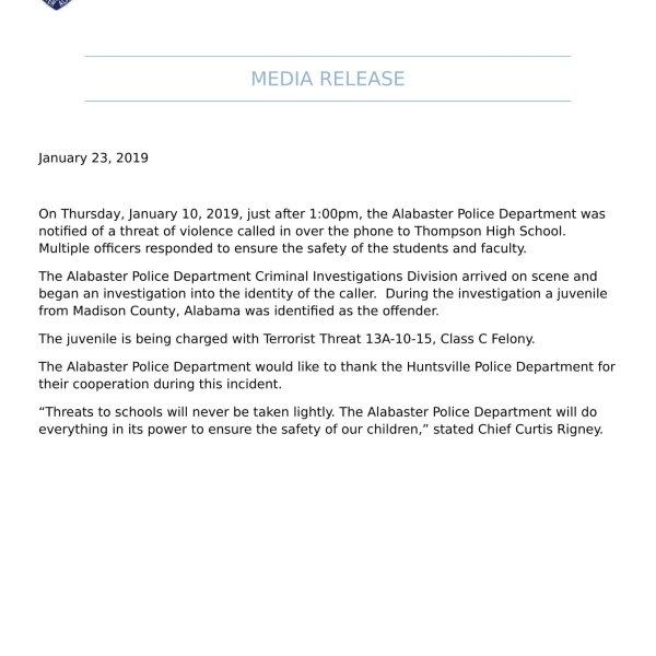 alabaster press release on Thompson gun incident