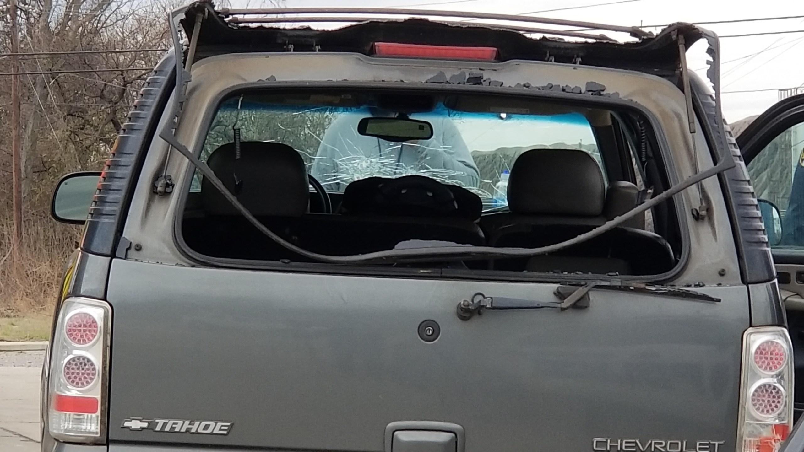 Child grazed, damage to car