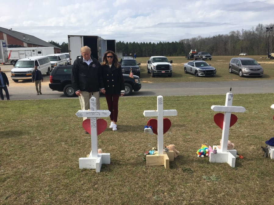 President Trump and First Lady view tributes to victims of Beauregard Tornado