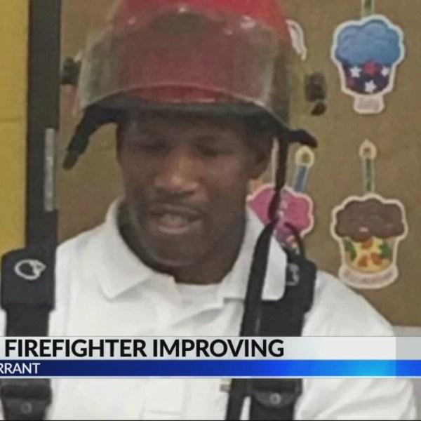 Injured Tarrant firefighter improving