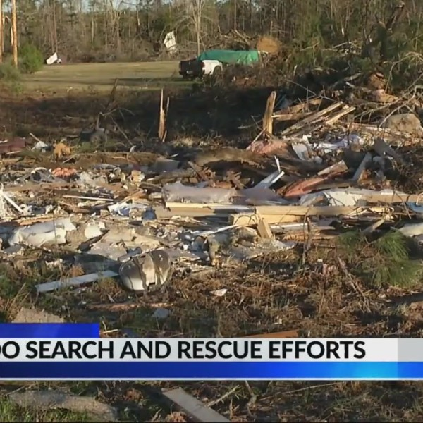 Tornado search and rescue efforts in Beauregard