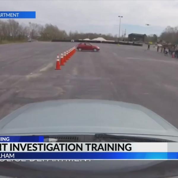 Traffic homicide investigators participate in car accident training
