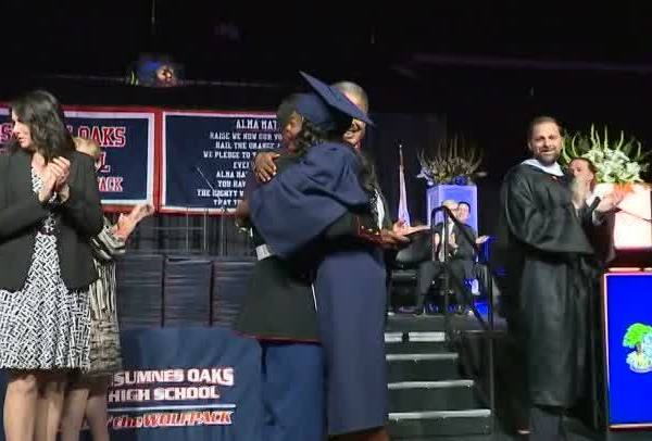 Marine surprises sister at graduation