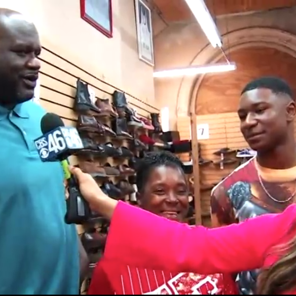 SHAQ SURPRISES NEEDY TEEN WITH SHOES