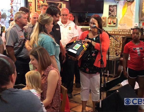Heart attack survivor donates AED defibrillator to Champy's in Alabaster