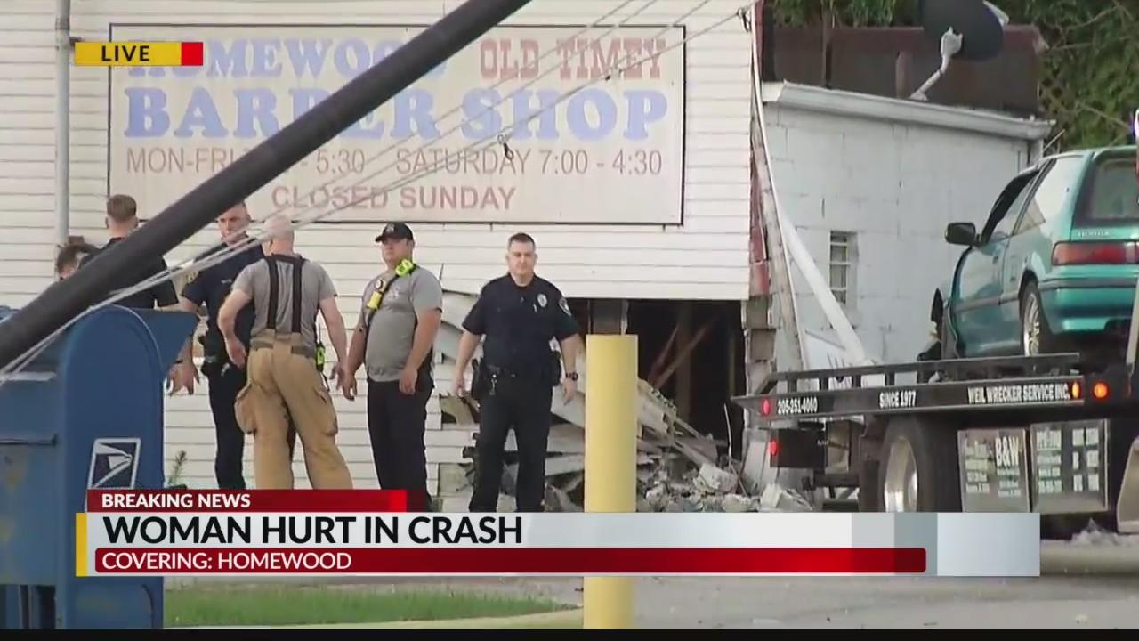 Car crashed into Homewood Barber Shop