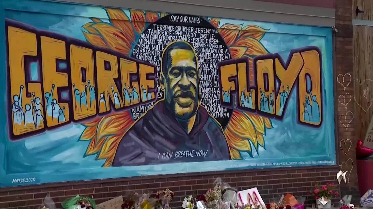 George Floyd Mural In Minneapolis Defaced With Black Paint Cbs 42