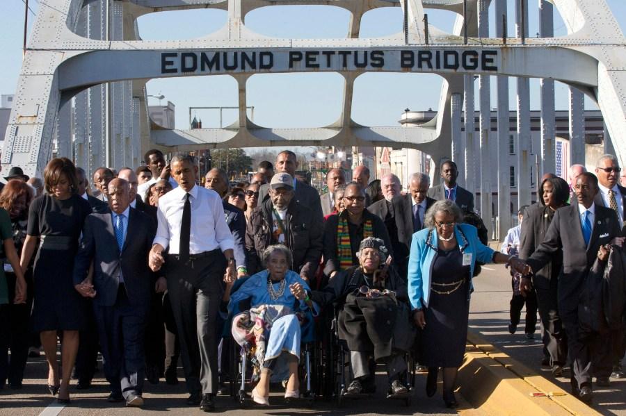 Barack Obama, Michelle Obama, Malia Obama, Sasha Obama, Marian Robinson, Amelia Boynton, Laura Bush, John Lewis