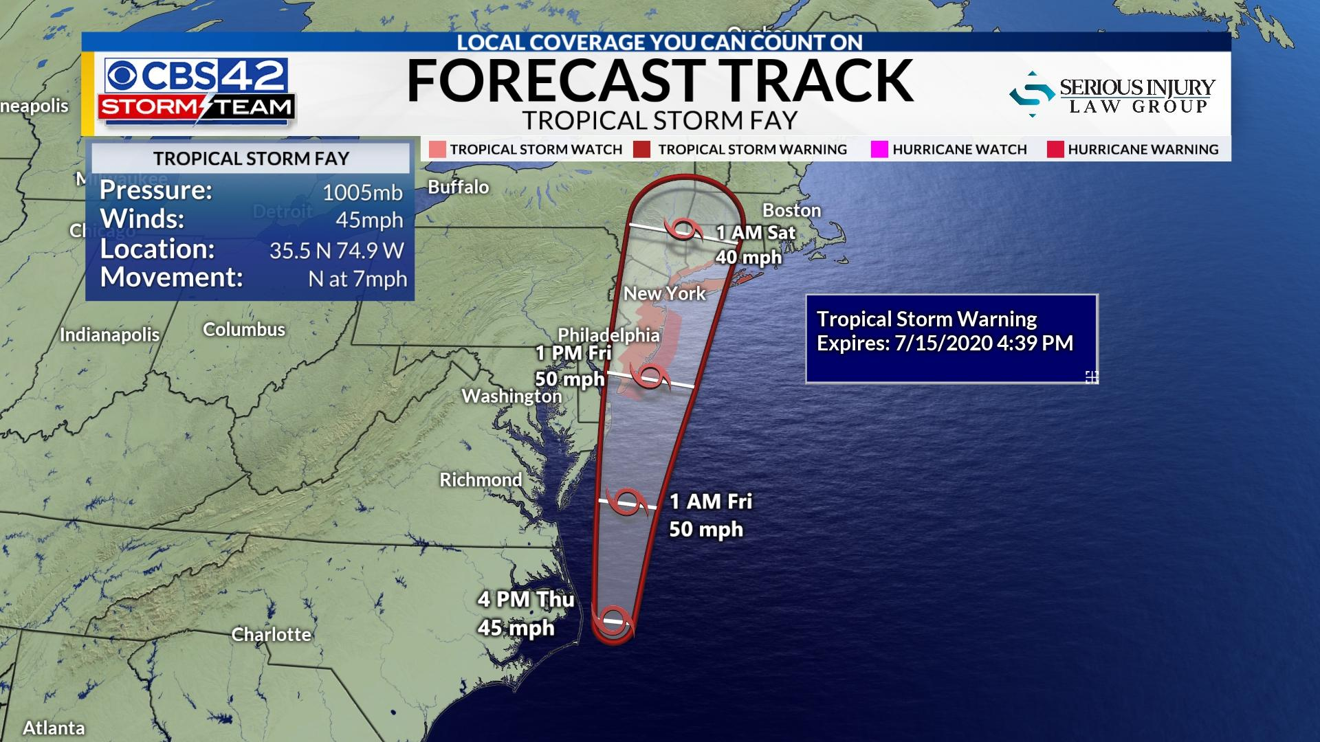 Tropical Storm Fay Forms Warnings Issued For Nj Conn Long Island