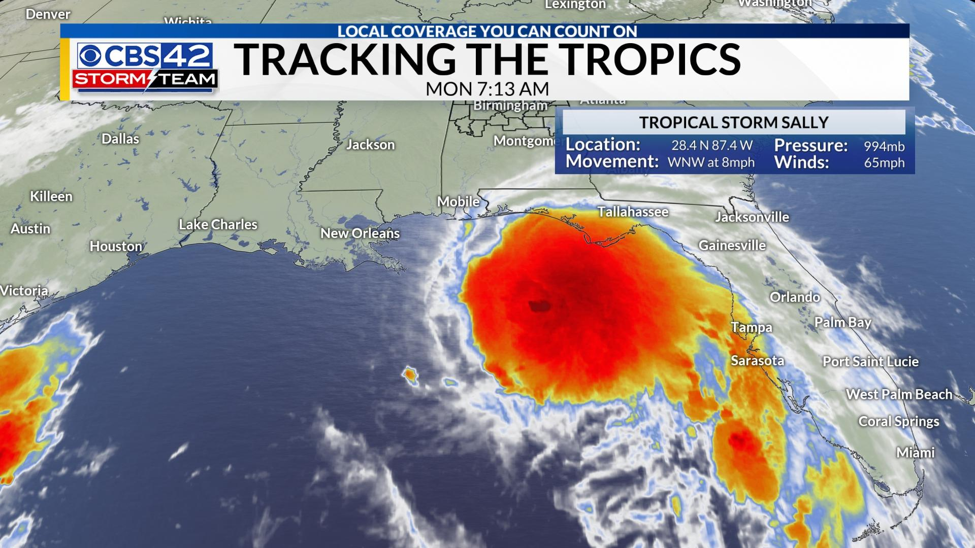 Tracking The Tropics Sally Gains Some Strength Still Expected To Be A Hurricane Today Cbs 42