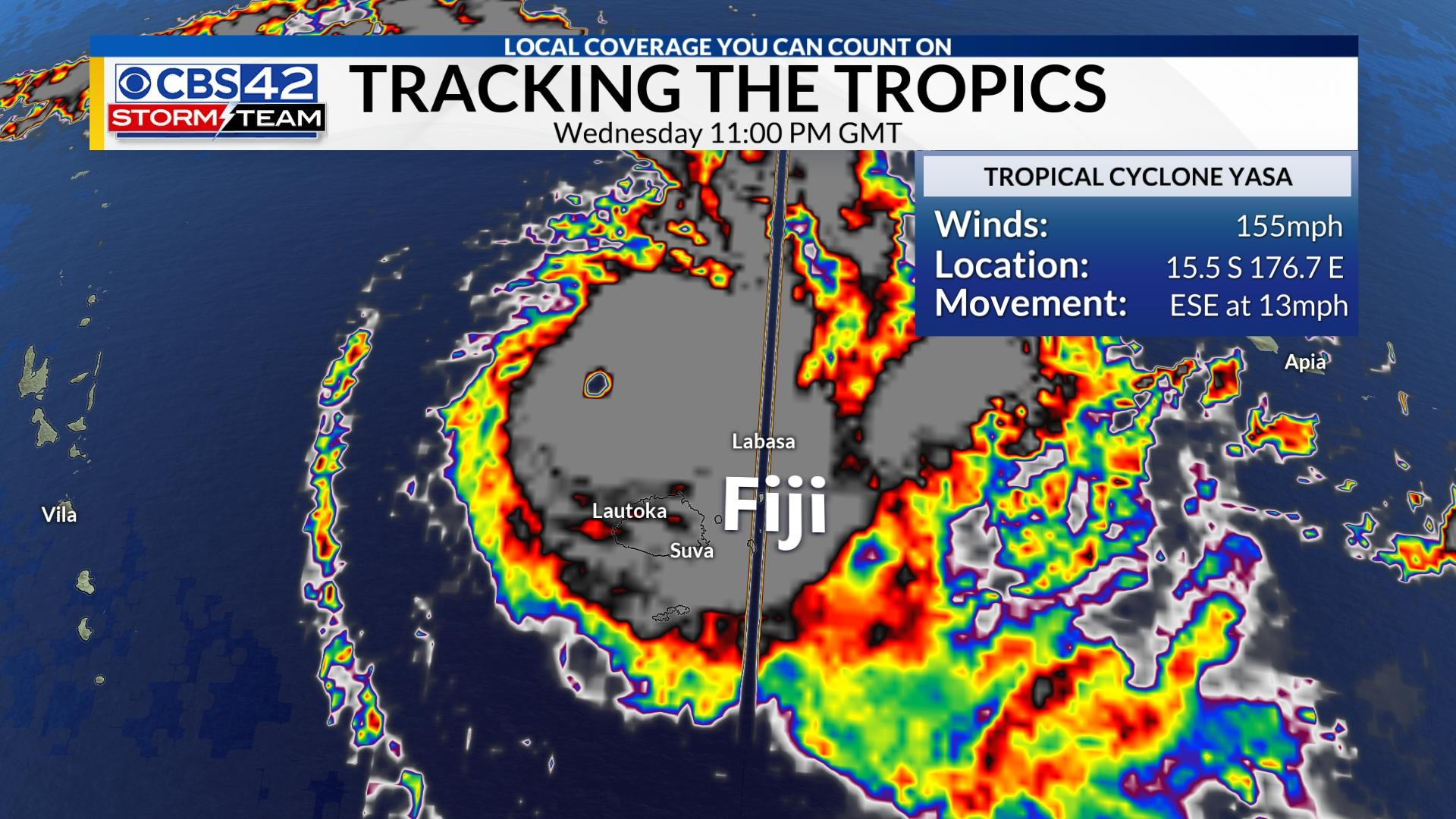 Powerful Tropical Cyclone Yasa Closing In On Fiji Cbs 42