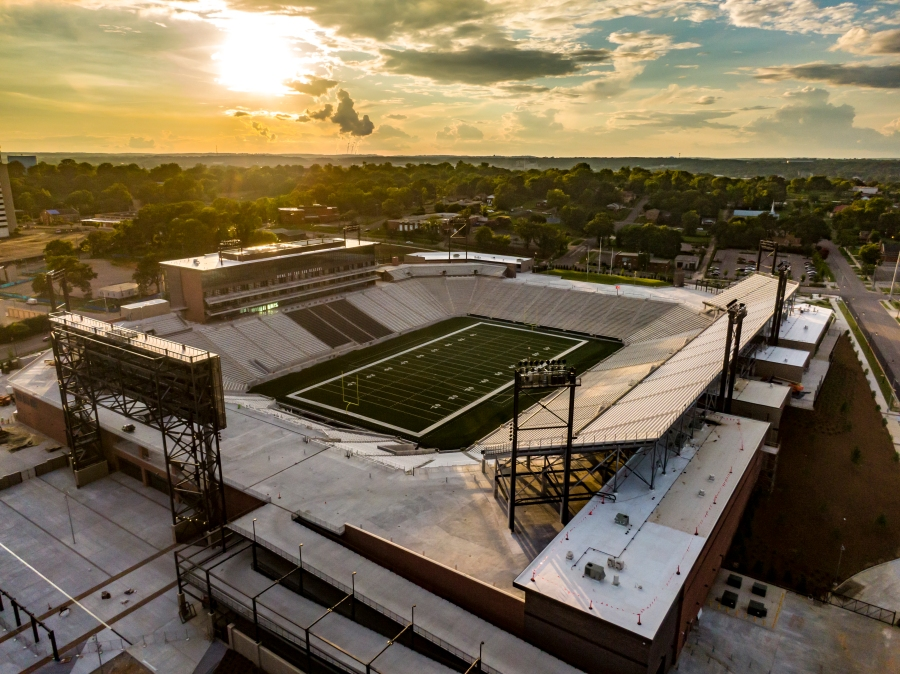 A drone photo of protective stadium (Photo by Lee Hedgepeth)